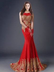 Fashionable Red Mermaid Scoop Sleeveless Tulle With Brush Train Side Zipper Appliques Prom Dresses