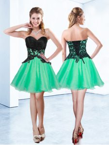 Great Sleeveless Organza Mini Length Lace Up Dress for Prom in Turquoise with Appliques