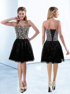 Sweetheart Sleeveless Prom Evening Gown Knee Length Sequins Black Sequined