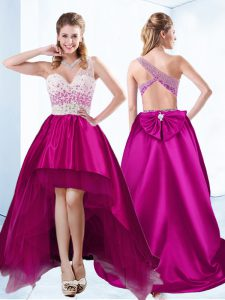 Fuchsia Ball Gowns Sweetheart Sleeveless Satin High Low Criss Cross Beading Prom Dress