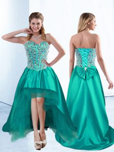 Vintage Sweetheart Sleeveless Prom Party Dress High Low Beading and Bowknot Teal Satin