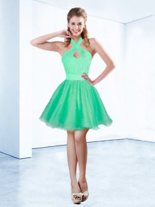Exquisite Halter Top Sleeveless Organza Mini Length Zipper Prom Dress in Turquoise with Ruching and Belt
