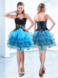 Cheap Blue And Black Sweetheart Neckline Ruffled Layers Sleeveless Lace Up
