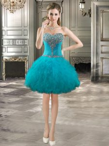 Sleeveless Beading and Ruffles Lace Up Evening Dress