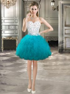 Deluxe Teal Lace Up Prom Evening Gown Beading and Ruffles Sleeveless Mini Length