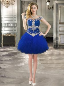 Attractive Royal Blue Ball Gowns Tulle Off The Shoulder Cap Sleeves Beading and Ruffles Mini Length Lace Up Prom Evening Gown
