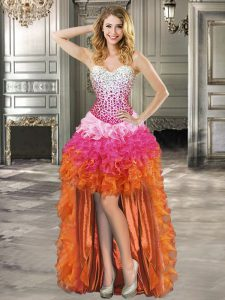Dazzling High Low Lace Up Multi-color for Prom and Party with Beading and Ruffles