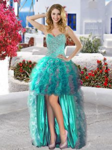 Spectacular Organza Sweetheart Sleeveless Lace Up Beading and Ruffles Homecoming Dress in Turquoise