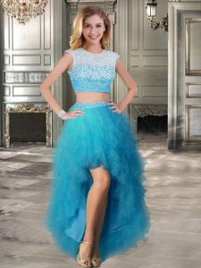 Flirting Scoop Tulle Cap Sleeves High Low and Beading and Ruffles