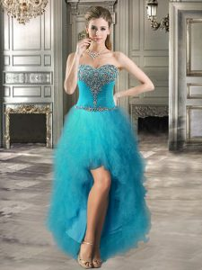Sleeveless Tulle High Low Lace Up in Teal with Beading and Ruffles