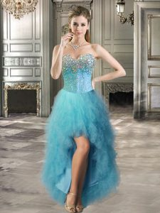 Custom Design Sweetheart Sleeveless Lace Up Prom Gown Teal Tulle