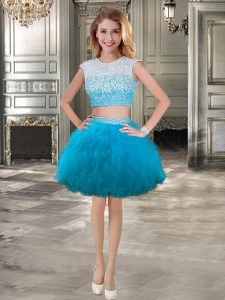 Comfortable Scoop Cap Sleeves Lace Up Prom Gown Teal Tulle