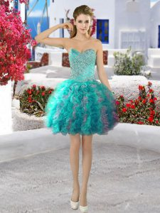 Lovely Organza Sleeveless Mini Length Dress for Prom and Beading and Ruffles