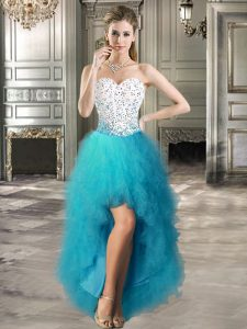 Sweetheart Sleeveless Lace Up Teal Tulle