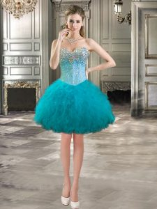 Simple Mini Length Ball Gowns Sleeveless Teal Red Carpet Gowns Lace Up