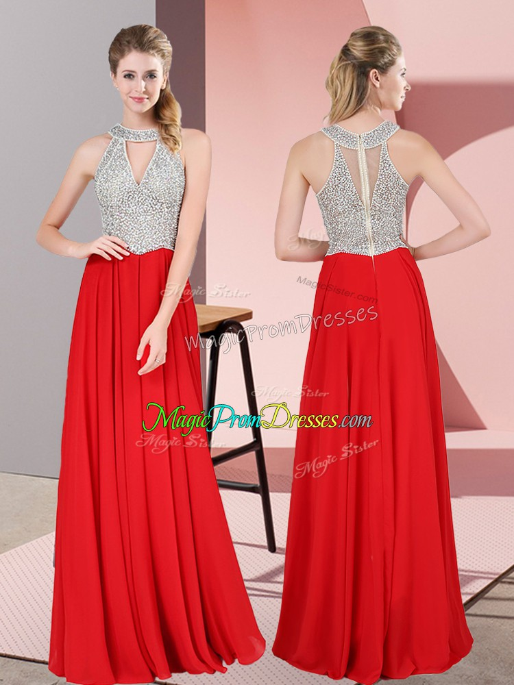 Superior Floor Length Zipper Prom Gown Red for Prom and Party with Beading and Lace