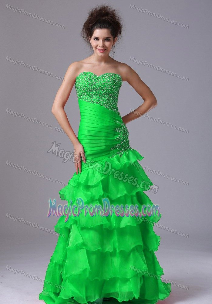 Spring Green Mermaid Prom Gowns in Floor-length with Ruffles in Crowell