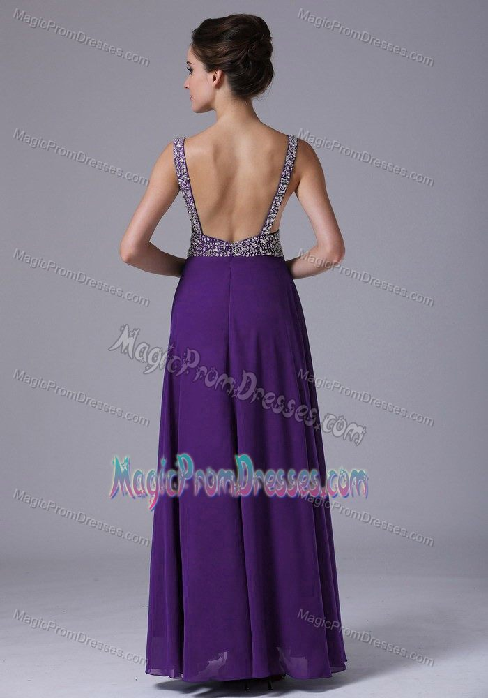 Chiffon Beaded Straps Column Floor-length Prom Gown in Purple in Brady