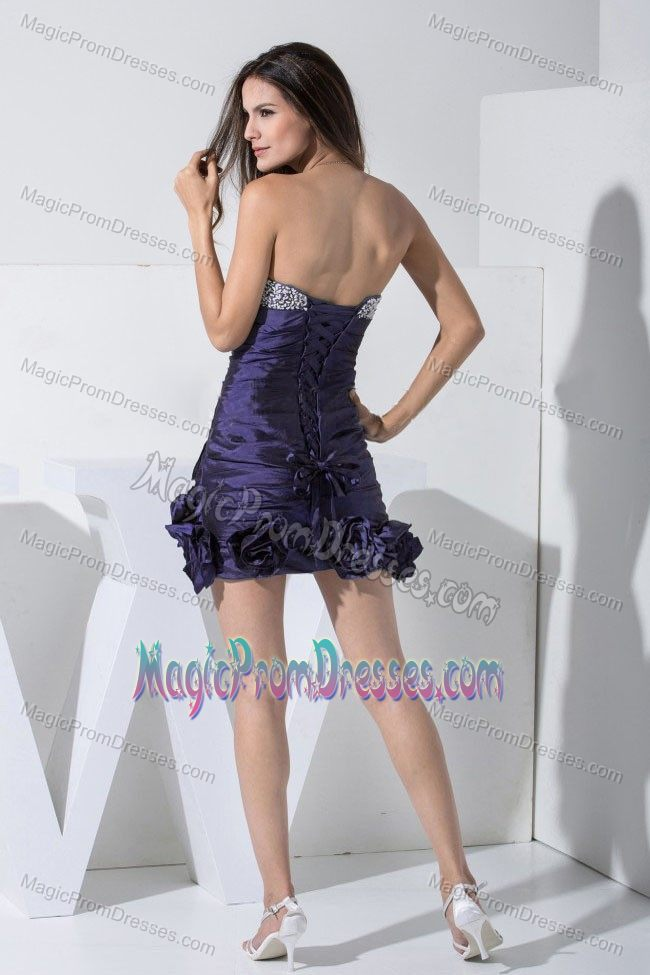 Dark Purple Beaded Sweetheart Mini-length Dresses for Prom with Flowers