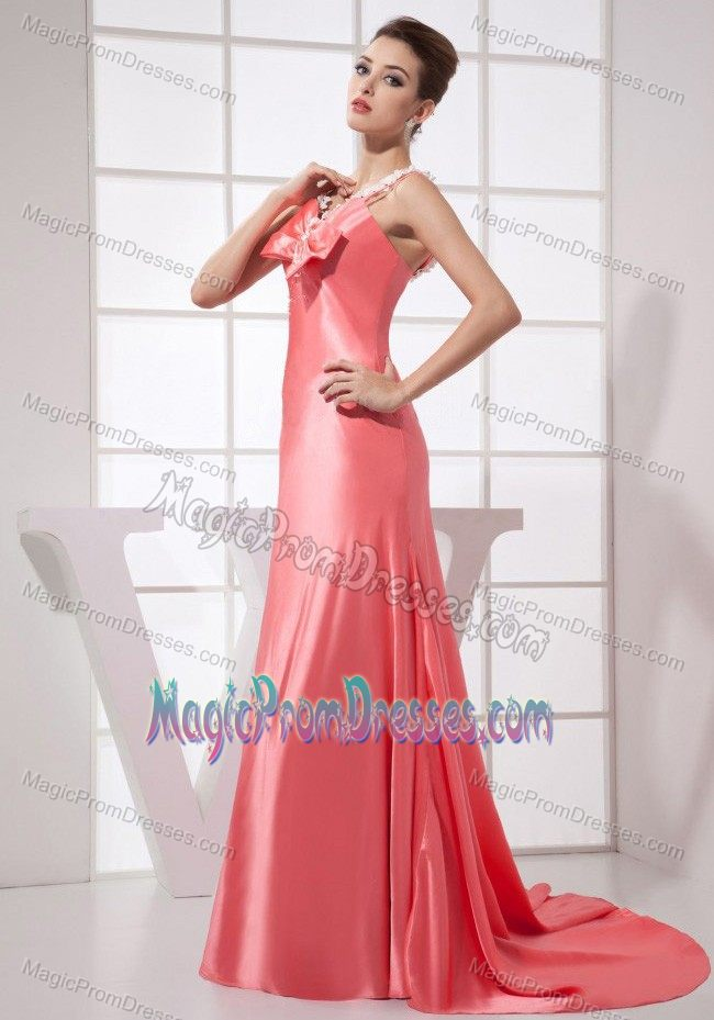 Watermelon Red Taffeta Brush Train Prom Outfits with Appliques in Hayden