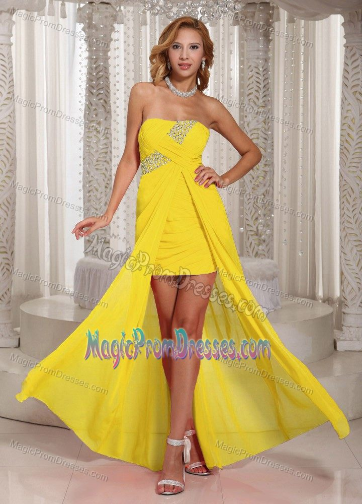 Yellow Straps High-low Dresses for Formal Prom with Beading