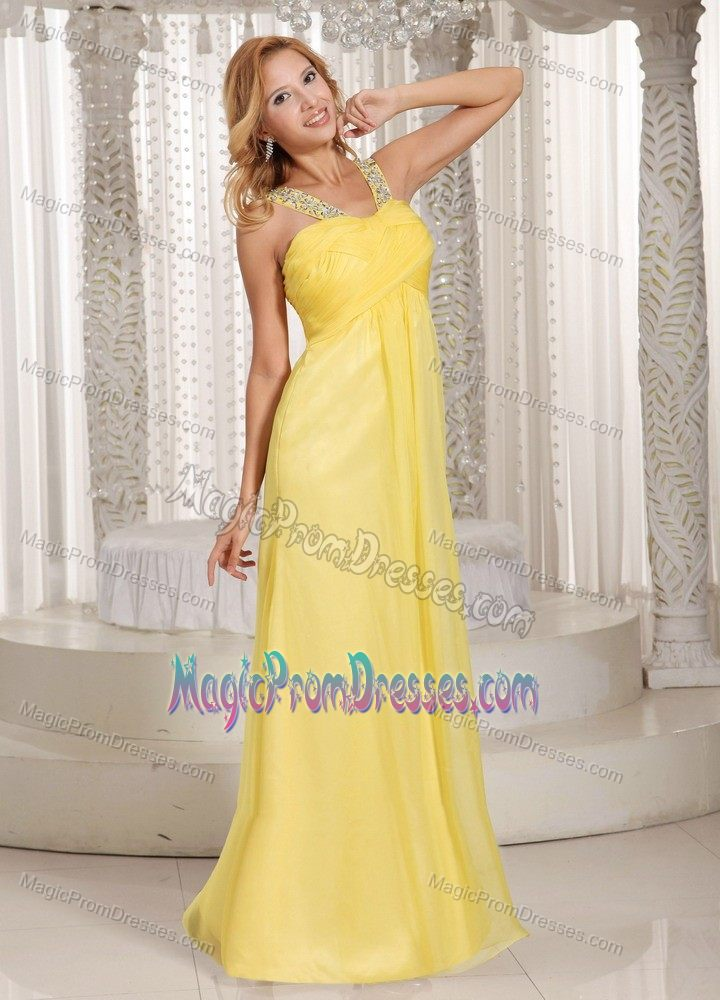 Turn Heads Yellow Long Formal Chiffon Prom Outfits with Beaded Straps