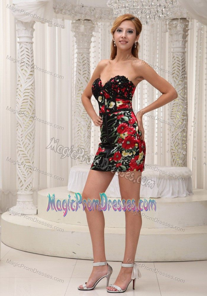 New Zipper-up Floral Printing Mini-length Colorful Prom Dress for Cocktail Party