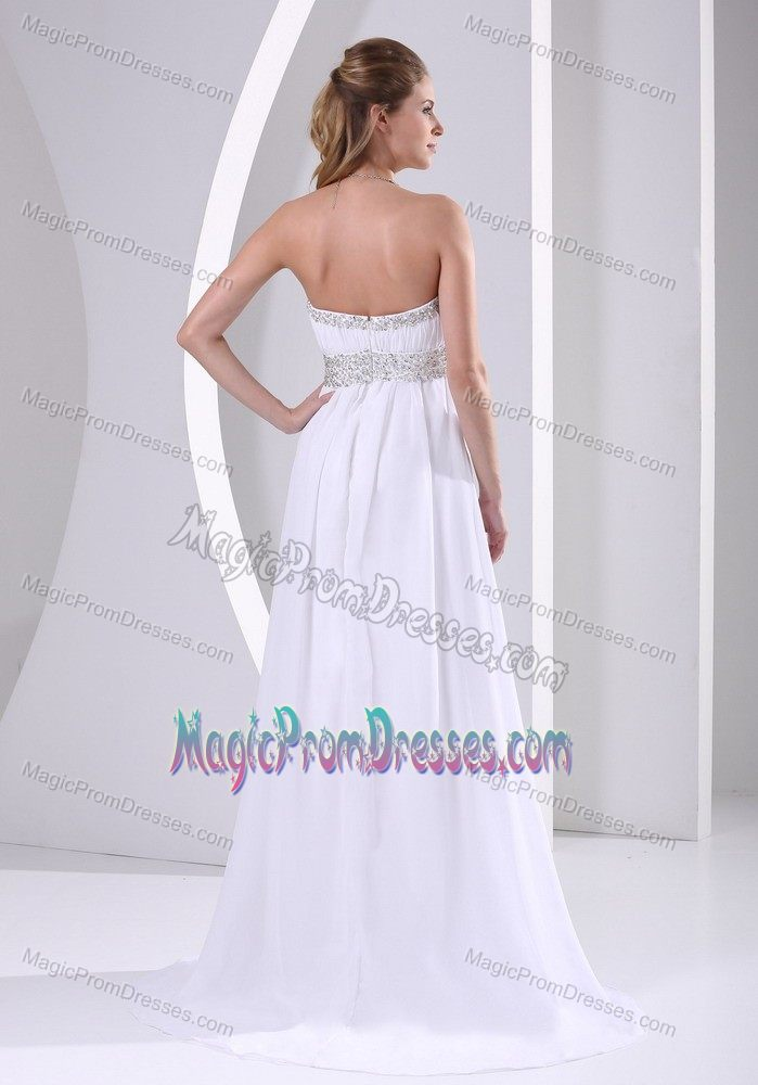 White Ruched and Beaded Strapless Empire Prom Dresses with Brush Train