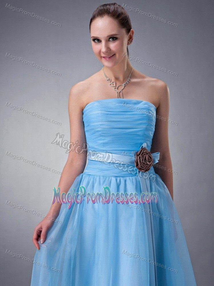 Hot Baby Blue Tea-length Ruched Prom Gown with Flower Decorate