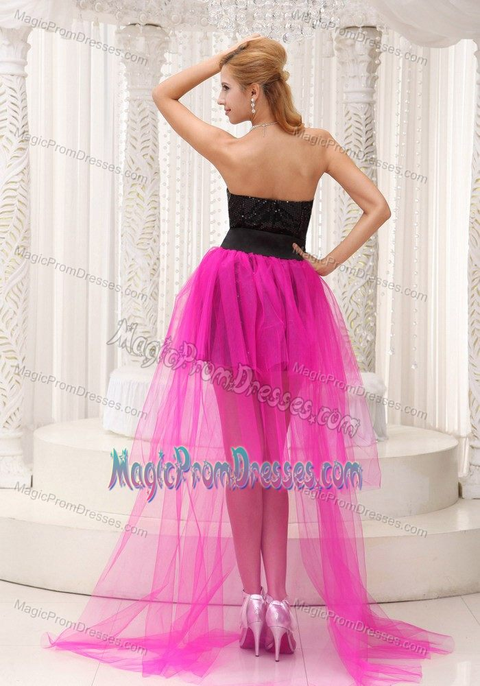 Sequin Tulle Black and Hot Pink High-low Prom Gown Dress in Style