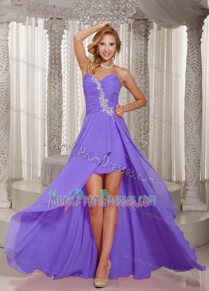 Classic High-low Appliqued Light Purple Prom Outfits Fast Shipping