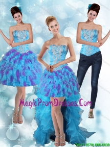 Modest Strapless High Low Ruffles 2015 Prom Dresses in Multi Color