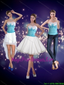 2015 Modest Embroidery Sweetheart Detachable Prom Skirts in White and Blue