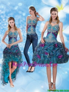 2015 Modest Spaghetti Straps Detachable Prom Skirts with Hand Made Flower and Embroidery
