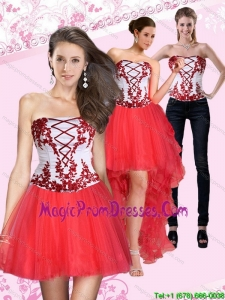 2015 New Style Strapless Multi Color Short Detachable Prom Skirts with Embroidery
