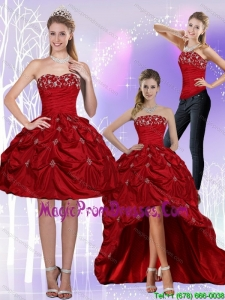 2015 New Style Strapless Wine Red Detachable Prom Skirts with Embroidery