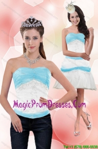 Classical 2015 Strapless Column Appliques Detachable Prom Skirts in White and Blue
