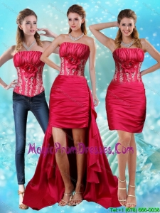 Elegant Strapless Embroidery Red Detachable Prom Skirts with Hand Made Flower and Embroidery