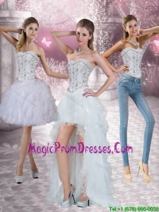New Style Strapless White Detachable Prom Skirts with Ruffles and Beading