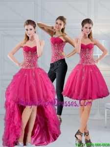 Perfect Sweetheart Hot Pink 2015 Detachable Prom Skirts with Appliques