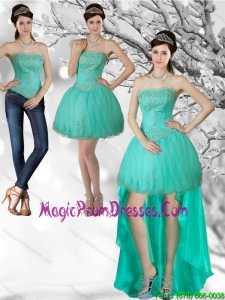 Unique Apple Green Strapess High Low Prom Dresses with Beading