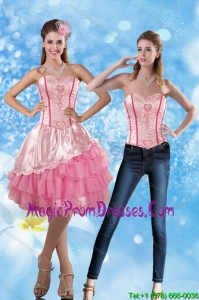Affordable 2015 Sweetheart Embroidery Detachable Prom Skirts in Rose Pink