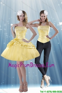 Delicate 2015 Strapless Beading and Pick Ups Detachable Prom Skirts in Yellow