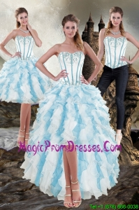 Elegant Sweetheart White and Blue 2015 Detachable Prom Skirts with Appliques and Ruffles