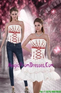 New Style Strapless 2015 Detachable Prom Skirts with Embroidery and Ruffled Layers
