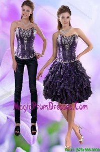 Pretty Sweetheart Dark Purple 2015 Detachable Prom Skirts with Appliques and Ruffles