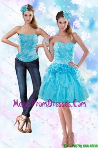 2015 Appliques and Pick Ups Strapless Detachable Prom Skirts in Baby Blue