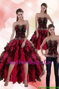 Affordable 2015 Sweetheart Multi Color Detachable Prom Skirts with Beading and Ruffles