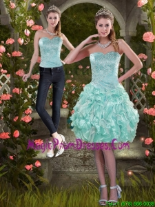 Classical 2015 Strapless Detachable Prom Skirts with Beading and Ruffles