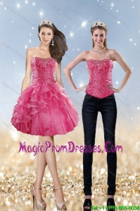 Elegant 2015 Strapless Coral Red Detachable Prom Skirts with Beading and Ruffles